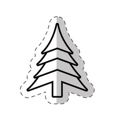 Christmas tree festive cut line vector