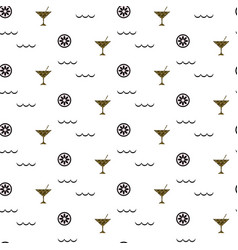 Cocktail bar glitter glass seamless pattern vector