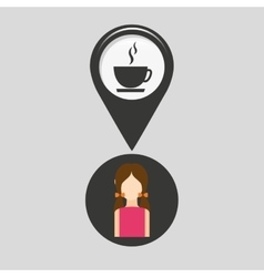 Coffee shop pointer map girl vector