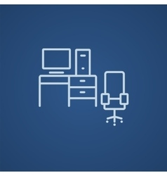 Computer set with table and chair line icon vector image