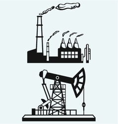 Concept of oil industry and factory vector image vector image