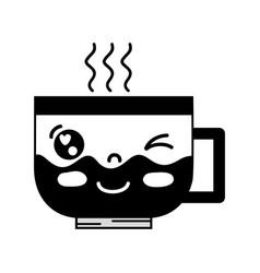 contour kawaii cute funny coffee cup vector image vector image