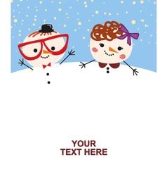 Cute couple snowmen vector