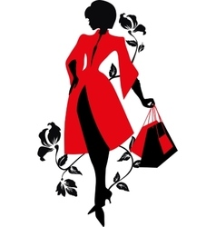Elegant silhouette Beautiful woman with flowers vector image vector image