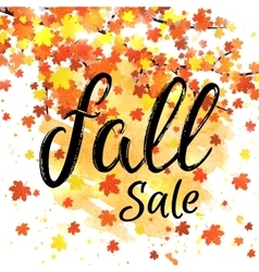 Fall sale lettering banner discount autumn poster vector