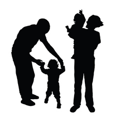 Family with baby silhouette vector