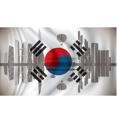 flag of south korea with seoul skyline vector image vector image