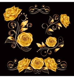 Flowers with gold roses vector image vector image