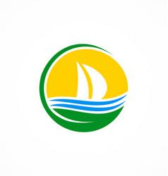 green boat sail logo vector image