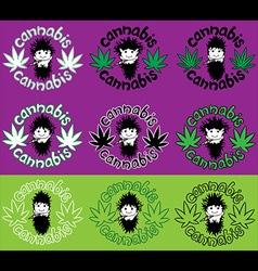 Happy relaxed rastafarian guy smoking marijuana vector
