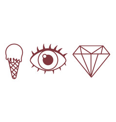 Ice cream eye and diamond icon vector