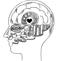 Man profile with brain and heart vector image vector image