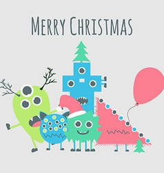 Monsters ongratulate You with Merry Christmas vector image