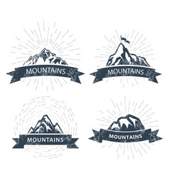 mountain peaks labels and emblems - ski resort vector image