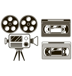 Movie black icon set on white background vector image vector image