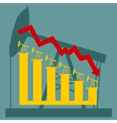 Oil price fall graph vector image