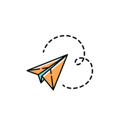 paper plane icon line art colorful design vector image