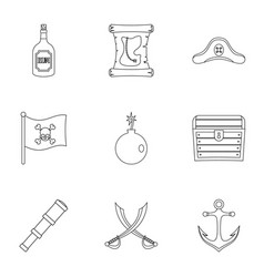 Pirates element icon set outline style vector