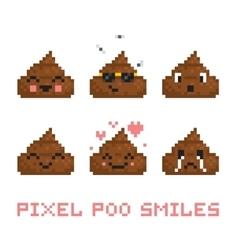 Pixel art style poo smile set vector