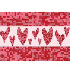 Red heart love pixel vector