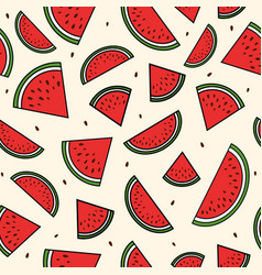 red slices of watermelon seamless pattern summer vector image