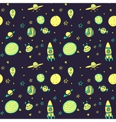 seamless pattern with space rockets vector image