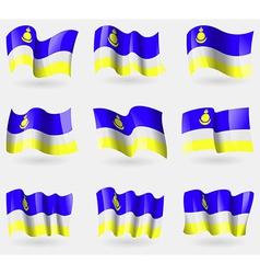 Set of buryatia flags in the air vector