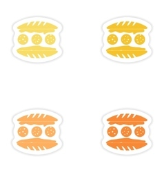 Set of paper stickers on white background american vector