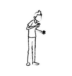 Sick man character symptom unwell image vector