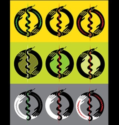 Snake symbol flower roses design stamp vector