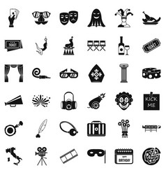 Staging icons set simple style vector