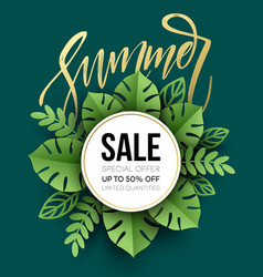 Summer sale poster tropical leaf paper cut style vector
