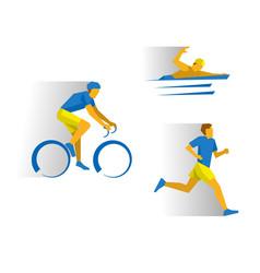 Triathlon - cycling marathon swimming vector