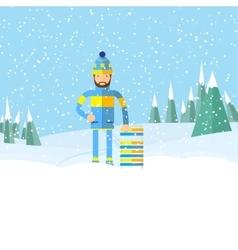 Winter landscape and man with tobogganflat design vector image vector image