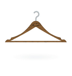 Wood clothes hanger isolated on white background vector