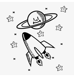 space stars doodle drawing image vector image