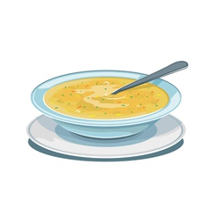 Dinner plate with soup vector