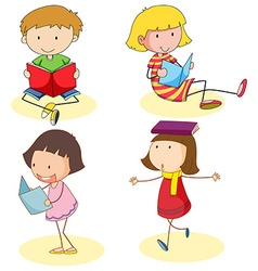 Boy and girls reading book vector