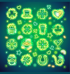 St patrick icons with sparkles vector