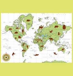 detailed world map with countries and animals vector image