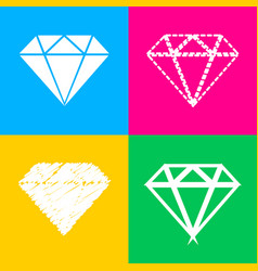 diamond sign four styles of icon on vector image