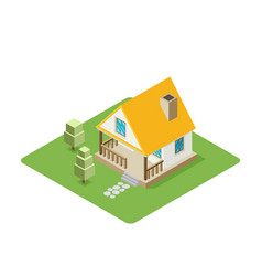 Isolated isomatic small house property set vector