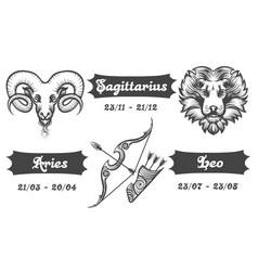 Zodiac signs of aries sagittarius and leo vector