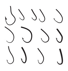Set of barbed hook icon vector