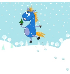 Little blue horse vector