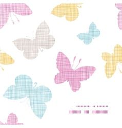 Textile textured colorful butterflies frame corner vector