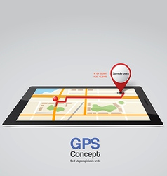 city map and pointers with tablet vector image