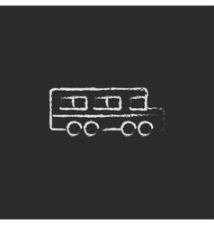 School bus icon drawn in chalk vector