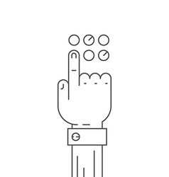 Hand and button vector