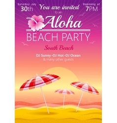 Aloha beach party background with umbrellas and vector